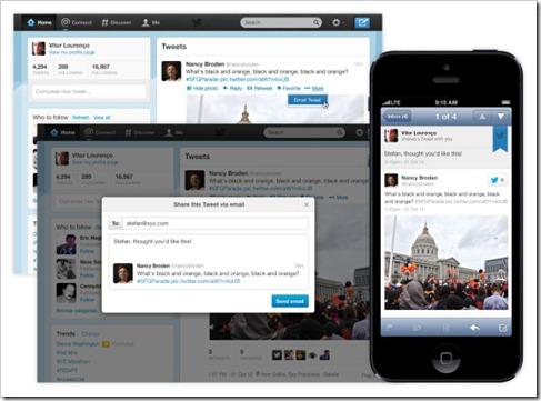 nova funkcija delenja tweeta