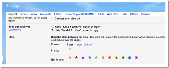 gmail zvijezdice