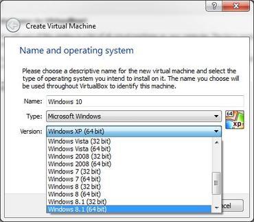 virtualbox izbor operativnog sustava