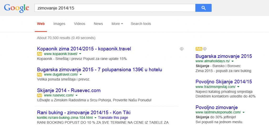 google adwords na stranici sa rezultatima pretrage serp