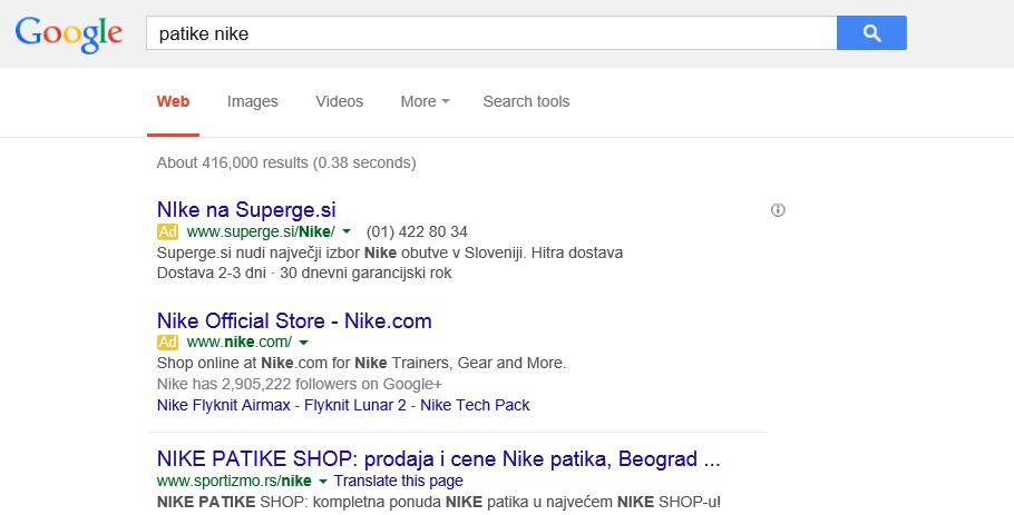 google adwords na stranici sa rezultatima pretrage