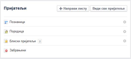 pravljenje Facebook liste prijatelja