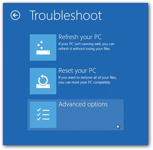 troubleshoot advanced options